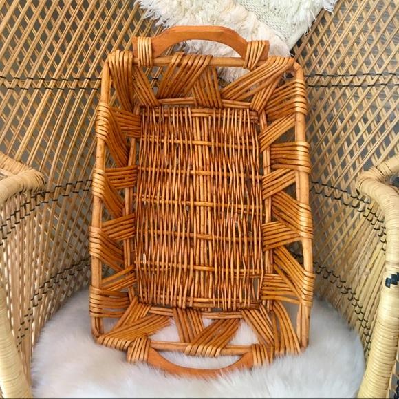 Vtg Woven Basket Rectangle Boho